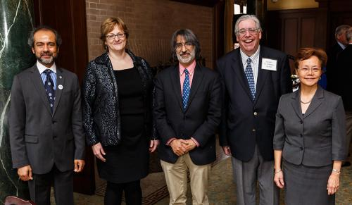 Left to right: AYA Board of Governors Chair Rahul Prasad '84 M.S., '87 Ph.D.; honoree Professor Meg Urry; presenter Professor Akhil Reed Amar '80, '84 J.D.; honoree Professor Jay Gitlin '71, '74 Mus.M., '02 Ph.D;. AYA Executive Director Weili Cheng '77. (Photo credit: Tony Fiorini)