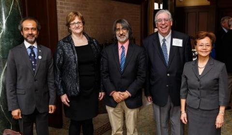 Left to right: AYA Board of Governors Chair Rahul Prasad '84 M.S., '87 Ph.D.; honoree Professor Meg Urry; presenter Professor Akhil Reed Amar '80, '84 J.D.; honoree Professor Jay Gitlin '71, '74 Mus.M., '02 Ph.D;. AYA Executive Director Weili Cheng '77. (Photo credit: Tony Fiorini)